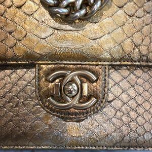 f4748348551c43 CHANEL Bags | Gold Python Medium Flap Bag Double Straps | Poshmark